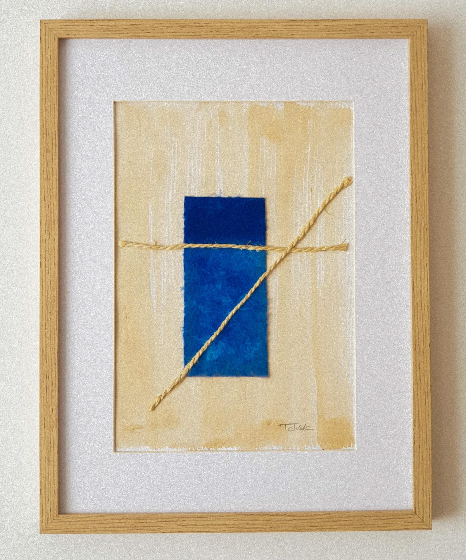 """Cuadro de arte abstracto titulado """"Boat in the sea"""" de la artista Tatuska (https://artuska.com)."""