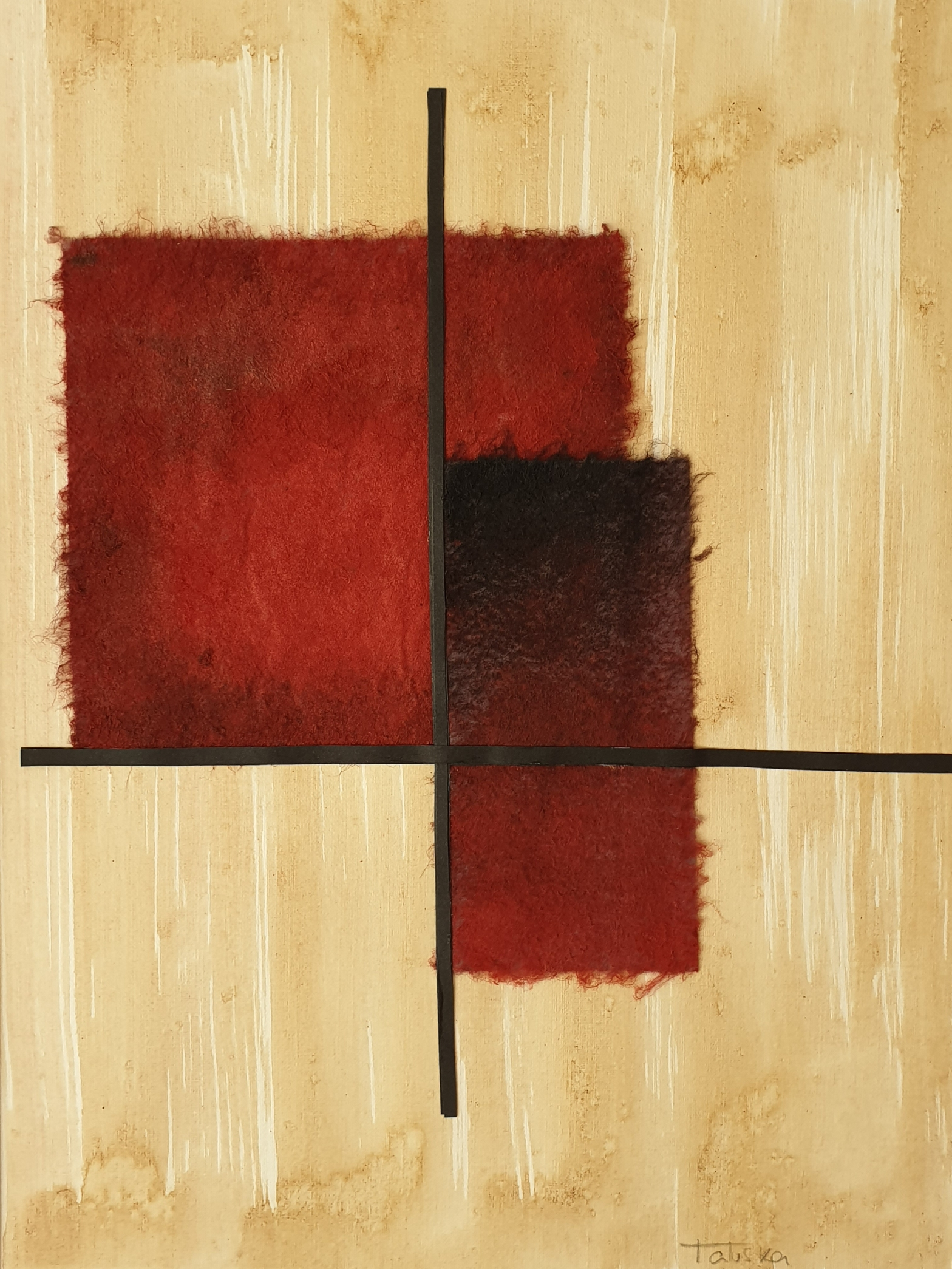 "Detalle del cuadro de arte abstracto titulado ""Burning couple"" de la artista Tatuska"