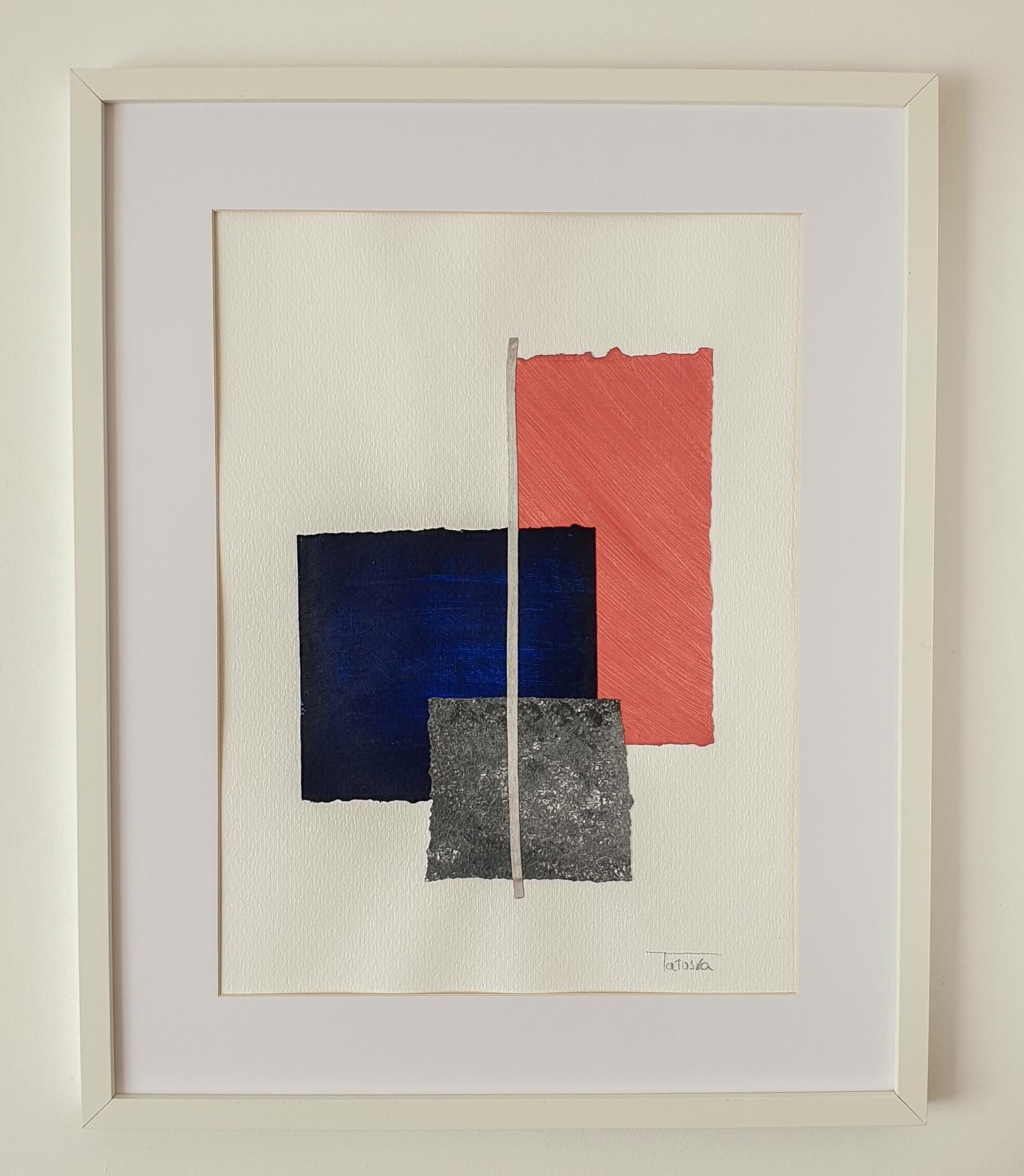 "Cuadro de arte abstracto titulado ""Salmon"" de la artista Tatuska"