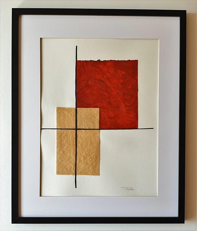 """Cuadro de arte abstracto moderno decorativo con texturas para sala, salón, dormitorio, comedor 40x50 cm. titulado """"Prosperity"""" de la artista Tatuska"""
