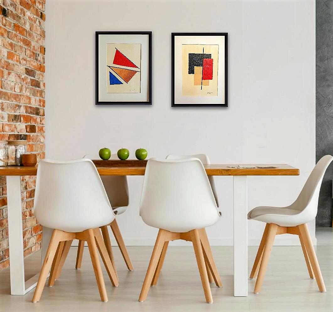 """Composición decorativa con los cuadros originales de arte abstracto contemporáneo titulados """"Distortion"""" y """"Storm"""", obras de la artista Tatuska"""