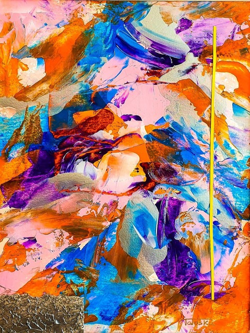 """cuadro abstracto moderno titulado """"Sunrise"""", por Tatuska"""