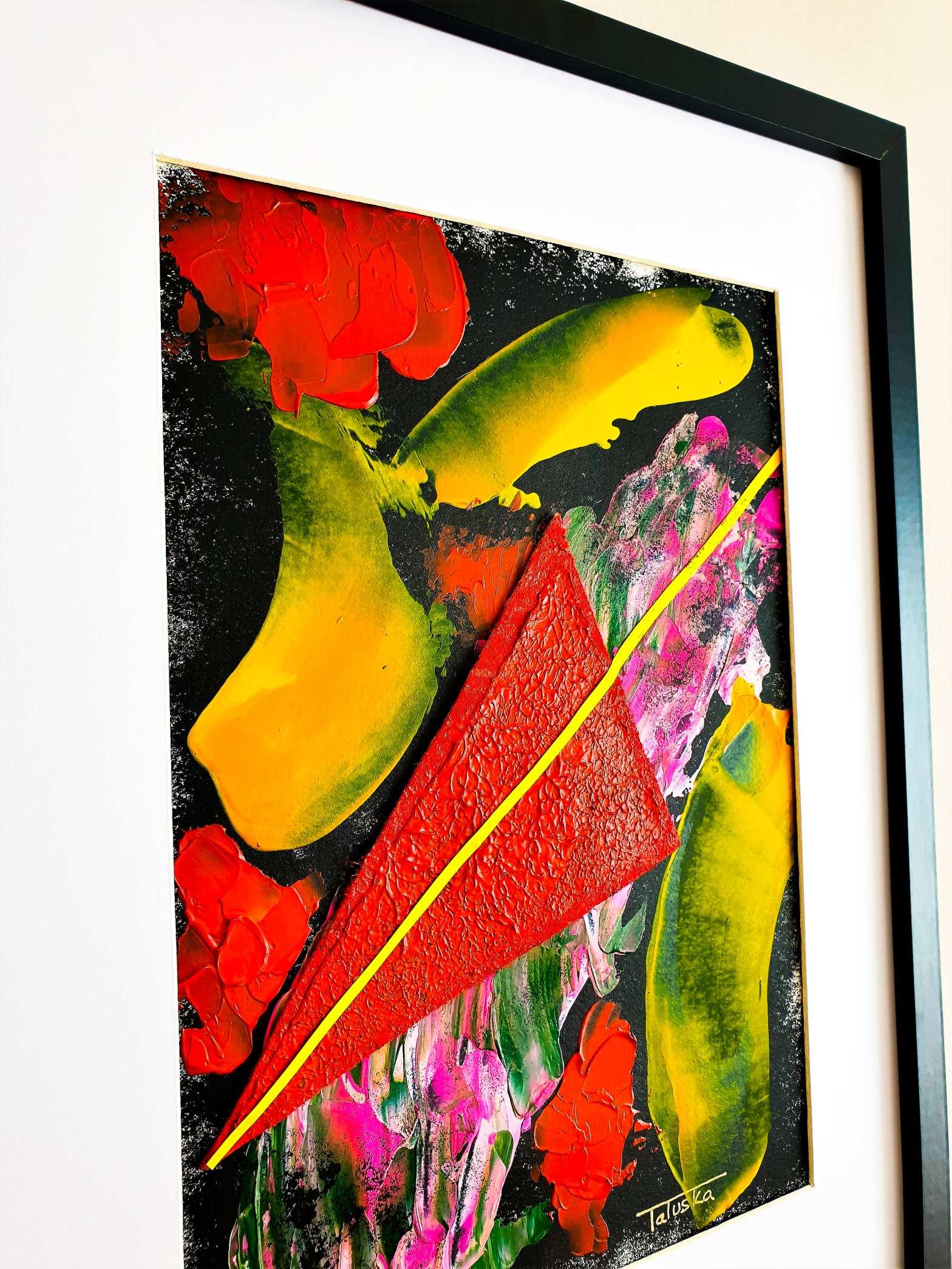 "Vista lateral de ""Fireworks"", cuadro abstracto impresionista de Tatuska"