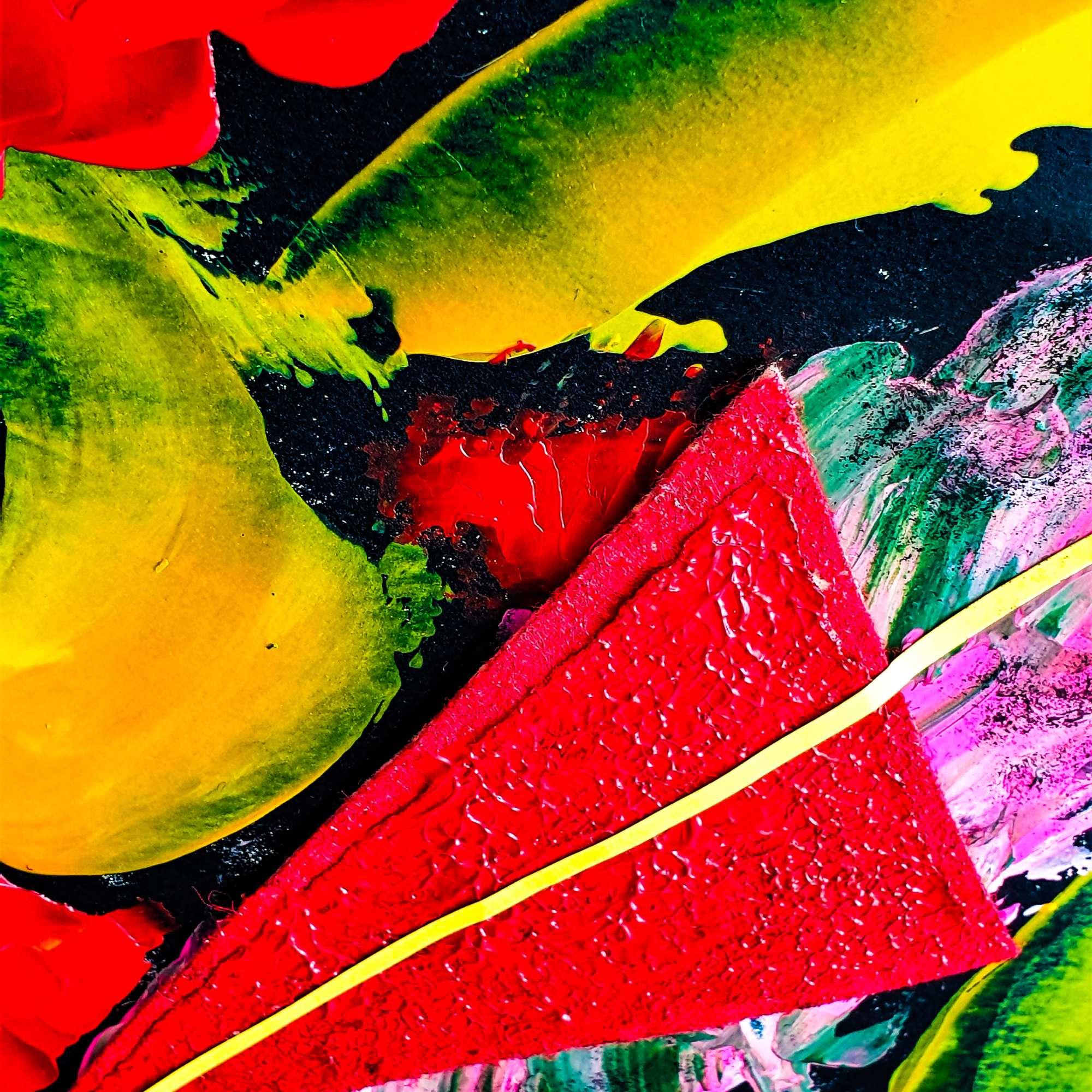 "Detalle del cuadro abstracto titulado ""Fireworks"", por Tatuska"