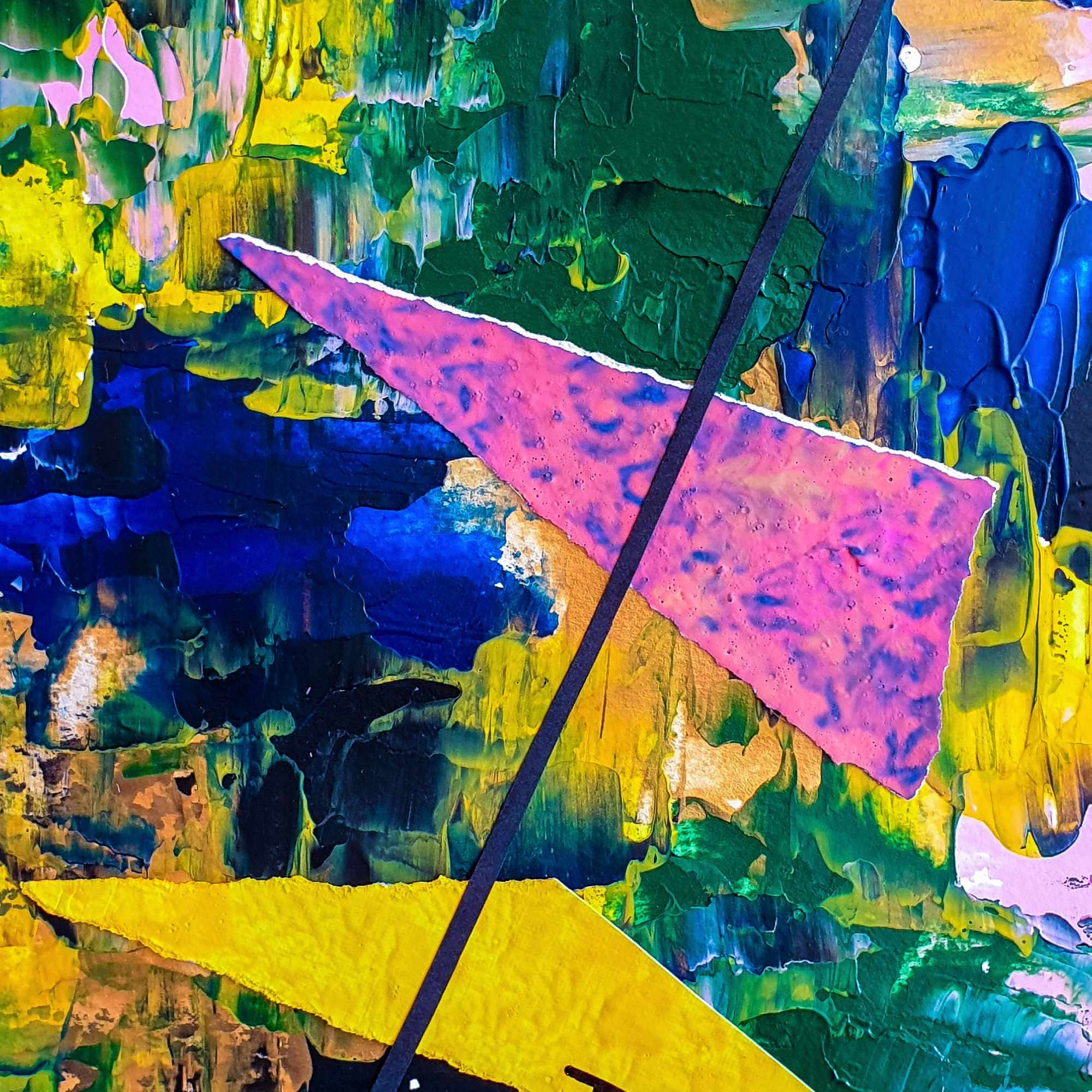 "Detalle del cuadro abstracto titulado ""Kites flying"", por Tatuska"