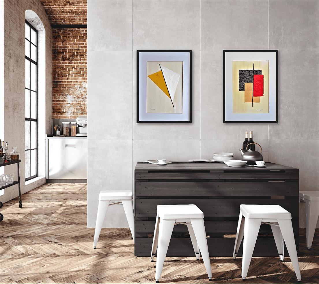 """Ejemplo de decoración industrial con las obras tituladas: """"Sunny"""" y """"Storm"""", realizadas por Tatuska"""
