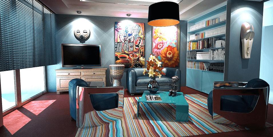 Decoración ecléctica de un salón con paredes pintadas en azul y obras de arte contemporáneo en paredes